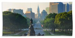 Philadelphia Benjamin Franklin Parkway Hand Towel by Bill Cannon