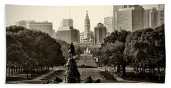 Philadelphia Benjamin Franklin Parkway In Sepia Hand Towel by Bill Cannon