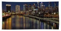 Philadelphia Skyline At Night Hand Towel by Susan Candelario