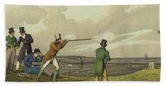 Pigeon Shooting Hand Towel by Henry Thomas Alken