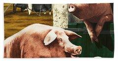 Pigs Hand Towel by Janet Blakeley