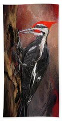 Pileated Woodpecker Art Hand Towel by Lourry Legarde