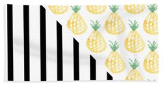 Pineapples And Stripes Hand Towel by Linda Woods