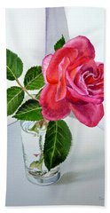 Pink Rose Hand Towel by Irina Sztukowski