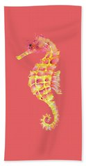 Pink Yellow Seahorse - Square Hand Towel by Amy Kirkpatrick
