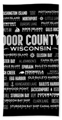 Places Of Door County On Black Hand Towel by Christopher Arndt