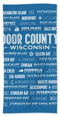 Places Of Door County On Blue Hand Towel by Christopher Arndt