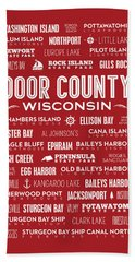 Places Of Door County On Red Hand Towel by Christopher Arndt