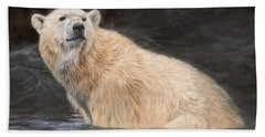 Polar Bear Hand Towel by David Stribbling