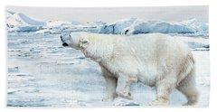 Polar Bear Hand Towel by Heike Hultsch