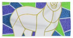 Polar Bear On Stained Glass Hand Towel by Pat Scott