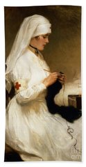 Portrait Of A Nurse From The Red Cross Hand Towel by Gabriel Emile Niscolet