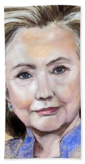 Pastel Portrait Of Hillary Clinton Hand Towel by Greta Corens