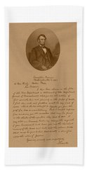 President Lincoln's Letter To Mrs. Bixby Hand Towel by War Is Hell Store