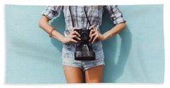 Pretty Woman Using Vintage Camera Hand Towel by Siarhei Kazlou
