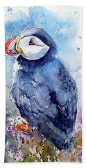 Puffin With Flowers Hand Towel by Kovacs Anna Brigitta