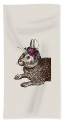 Rabbit And Roses Hand Towel by Eclectic at HeART