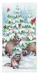 Raccoon Christmas Hand Towel by Peggy Wilson