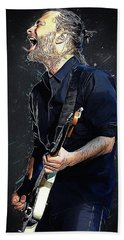 Radiohead - Thom Yorke Hand Towel by Semih Yurdabak