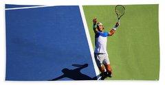 Rafeal Nadal Tennis Serve Hand Towel by Nishanth Gopinathan