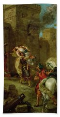 Rebecca Kidnapped By The Templar Hand Towel by Ferdinand Victor Eugene Delacroix