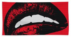 Red Lips Hand Towel by Edouard Coleman