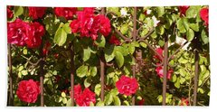 Red Roses In Summertime Hand Towel by Arletta Cwalina