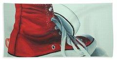 Red Sneakers Hand Towel by Nolan Clark