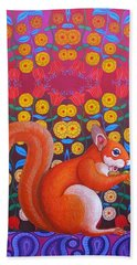Red Squirrel Hand Towel by Jane Tattersfield