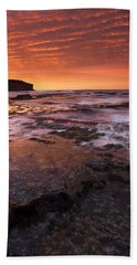 Red Tides Hand Towel by Mike  Dawson