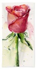 Rose Watercolor Hand Towel by Olga Shvartsur