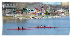 Rowing Along The Schuylkill River Hand Towel by Bill Cannon