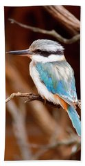Sacred Kingfisher Hand Towel by Mike  Dawson