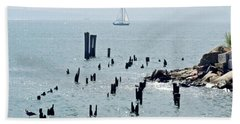 Sailboat Off City Island, New York No. 1 Hand Towel by Sandy Taylor