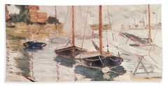 Sailboats On The Seine Hand Towel by Claude Monet