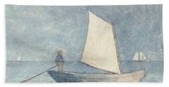 Sailing A Dory Hand Towel by Winslow Homer