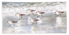 Sandpipers On Siesta Key Hand Towel by Shawn McLoughlin
