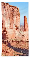 Bath Towel featuring the photograph Sandstone Butte And Canyon Floor, Arches National Park, Moab, Ut by A Gurmankin