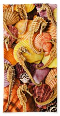 Sea Horses And Sea Shells Hand Towel by Garry Gay