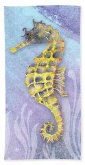 Seahorse Blue Hand Towel by Amy Kirkpatrick