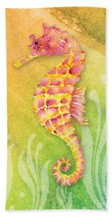 Seahorse Pink Hand Towel by Amy Kirkpatrick