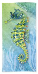 Seahorse Blue Green Hand Towel by Amy Kirkpatrick