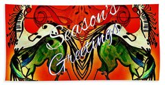 Seasons Greetings Dancing Musical Horses Hand Towel by Scott D Van Osdol