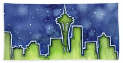 Seattle Night Sky Watercolor Hand Towel by Olga Shvartsur