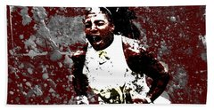 Serena Williams In The Zone Hand Towel by Brian Reaves