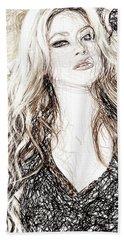 Shakira - Pencil Art Hand Towel by Raina Shah