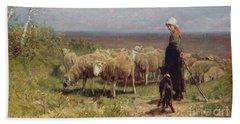 Shepherdess Hand Towel by Anton Mauve
