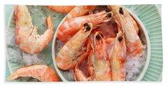 Shrimp On A Plate Hand Towel by Anfisa Kameneva