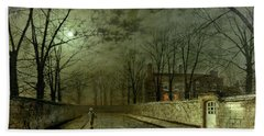 Silver Moonlight Hand Towel by John Atkinson Grimshaw