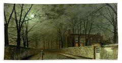 Silver Moonlight Bath Towel by John Atkinson Grimshaw